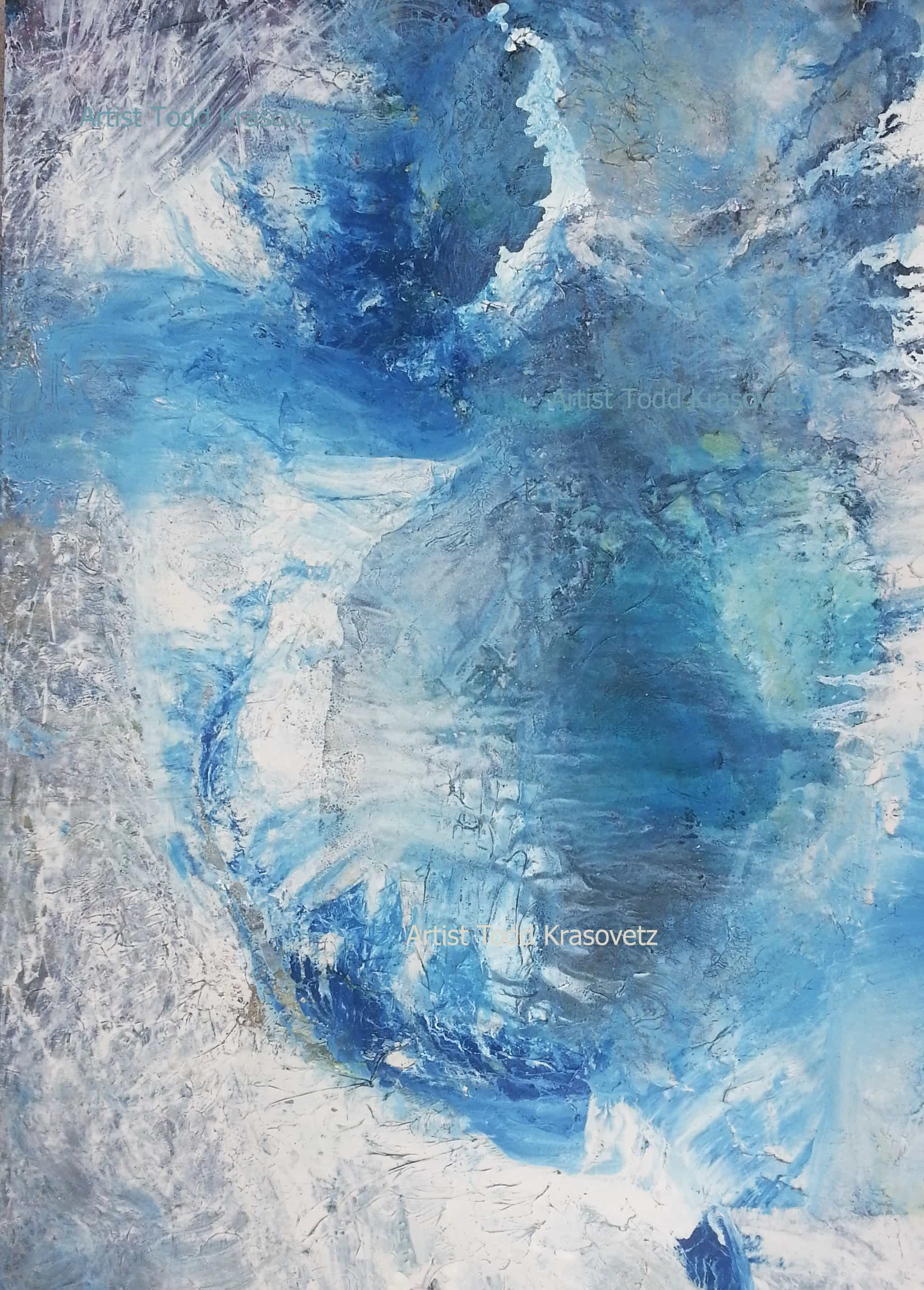 Contemporary Abstract Expressionism Oil on Canvas Size 42 x 60 inches Titled Above the Horizon Looking Down at Waves by Artist Todd Krasovetz