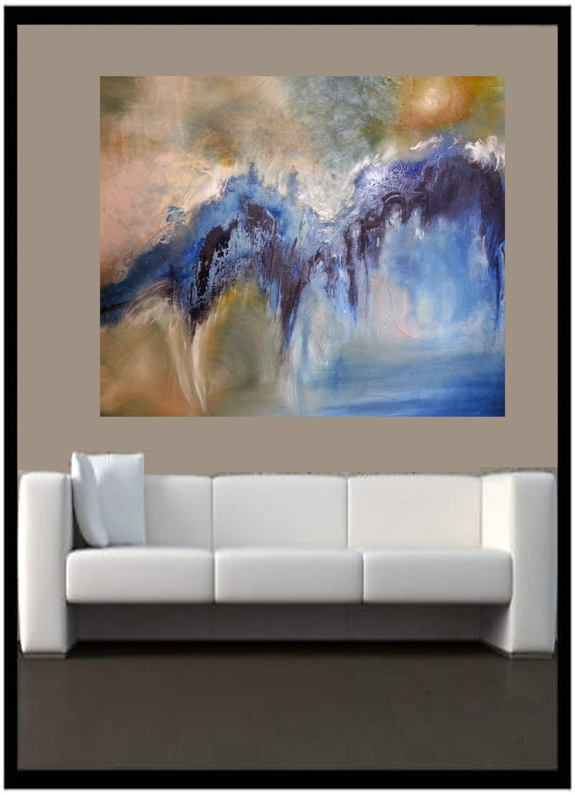 """Oil on Canvas Titled : """"Ambiguous Wave with Landscape""""by Artist Todd Krasovetz 56 x 72 inches"""