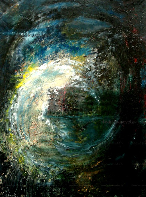 Contemporary Art Oil on Canvas Titled Dark and Lightwave by Artist Todd Krasovetz