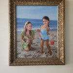 mom and daughter playing in la jolla ca oil on canvas by artist todd krasovetz