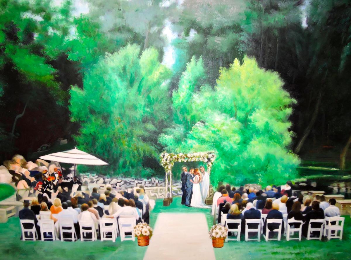 San Diego Jewish Weddings Oil Painting by Todd Krasovetz